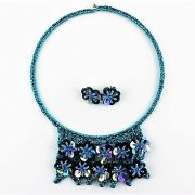 AUSTRALIAN HANDMADE CRAFT GORGEOUS 'GLAMOUR-US' SET: COLLAR NECKLACE AND EARRINGS