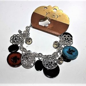 'I AM MULTI-CULTURAL' CHAIN BRACELET WITH CHARMS & CRYSTALS-MULTI-COLOR