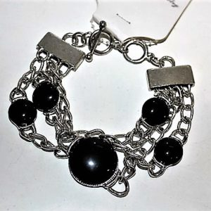 'EARTH' MULTI-STRAND NATURAL STONES BRACELET, BLACK