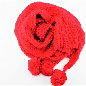 Trendy Winter Warm Woolen X Large Scarves/Shawls Pom-Pom, Red