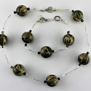 '4 SEASONS' GREY & SILVER AUSTRALIAN HANDMADE JEWELRY SET: NECKLACE & BRACELET
