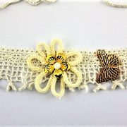 DRAWN TO FLOWERS LIKE A BUTTERFLY HAND CROCHETED NECKLACE, IVORY-CREAM