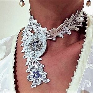 'DECADENCE'–AUSTRALIAN HANDMADE CRAFT COLLAR NECKLACE, WHITE, SILVER, BLUE