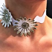 'GLOWING FLOWER'-- HANDMADE IVORY, GOLD & WHITE AVANT GUARDE COLLAR FLOWERED NECKLACE