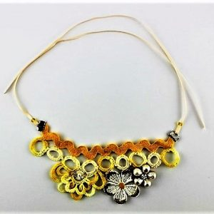 LET THE SUMMER BE SUMMER -- Crochet & Embellished Handmade Floral Yellow Necklace