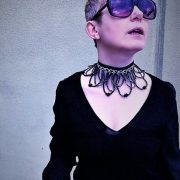 'NON-UNCOMPLICATED'-- HANDMADE BLACK UNIQUE COLLAR FLOWERED NECKLACE