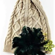 HAND DECORATED BEIGE AND GREEN FLOWERED BEANIE