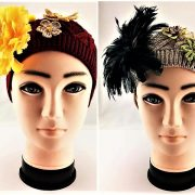 HAND DECORATED RED AND BEIGE FLOWERED BEANIE