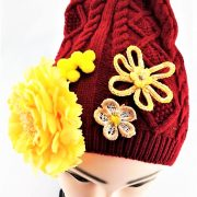HAND DECORATED RED AND YELLOW FLOWERED BEANIE