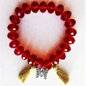 RED BRACELET WITH CHARM SEMI-PRECIOUS STONES & TASSELS