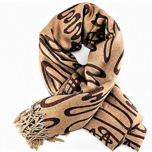CASHMIR, PASHMINA & SILK IMPRINTED SHAWLS ,XL, BEIGE & BROWN