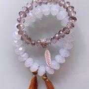 Handmade Choker Recycled Necklace & Semi-Precious Bracelets Ivory & Beige Shades