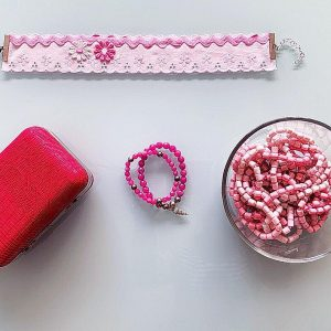 Handmade Choker Recycled Necklace & Semi-Precious Bracelets, & Small Purse (Pink Shades, White)