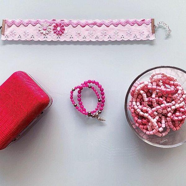 Handmade Choker Recycled Necklace & Semi-Precious Bracelets, & Small Purse (Pink Shades, White)