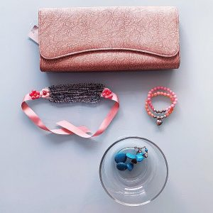 Handmade Choker Recycled Necklace & Semi-Precious Bracelets, & Small Purse (Beige, Peach, Pink)