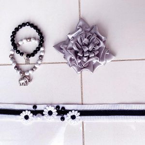 Handmade Choker Recycled Necklace & Semi-Precious Bracelets White, Black & Silver