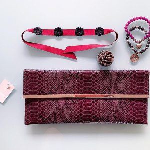Handmade Choker Recycled Necklace & Semi-Precious Bracelets, & Small Purse (Silver & Purple)