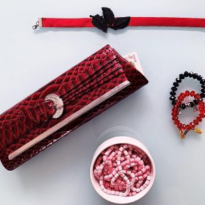 Handmade Choker Recycled Necklace & Semi-Precious Bracelets, & Small Purse (Red & Black)