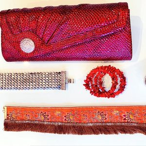 Handmade Choker Recycled Necklace & Semi-Precious Bracelets, & Small Purse (Reds, Brown & Silver)