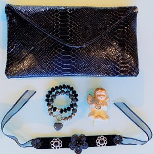 Handmade Choker Recycled Necklace & Semi-Precious Bracelets, & Small Purse (Silver & Black)