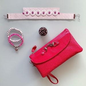 Handmade Choker Recycled Necklace & Semi-Precious Bracelets, & Small Purse (Pink White)