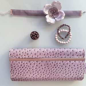 Handmade Choker Recycled Necklace & Semi-Precious Bracelets, & Small Purse (Silver, Grey & Ivory)
