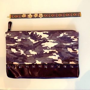 Recycled Handmade Necklace, Camouflage Matching Purse