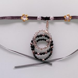 Craft Recycled 'Simplicity Beaut' Necklace, Semi-Precious Bracelets (Black, Silver & Clear)