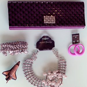Adorable Bib 'Greater' Necklace, 'Lucky' Bracelets, Leatherette Bag & Matching Earrings
