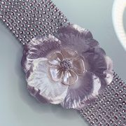 'Exotic Flower' Handmade Necklace, Semi-Precious Bracelets & Matching Purse (Ivory, Silver Shades)