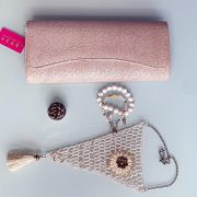 Handmade Crocheted 'Traditions' Necklace, Semi-Precious Bracelets & Matching Purse ( Beige, Ivory & Gold)