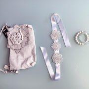 'Innocence' Handmade Necklace, Semi-Precious Bracelets & Matching Purse (Clear & Ivory, Silver)
