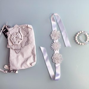 'Innocence' Handmade Necklace, Semi-Precious Bracelets & Matching Purse (Clear & Ivory, Silver)