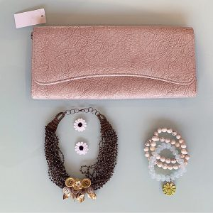 Recycled Handmade Floral 'Reveree' Necklace, Semi-Precious Bracelets & Matching Purse ( Beige, Peach, Transparent Ivory & Gold)