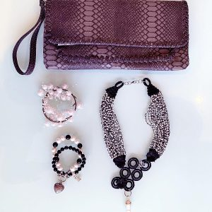 Craft 'The Contrast' Necklace, Semi-Precious Bracelets & Matching Purse