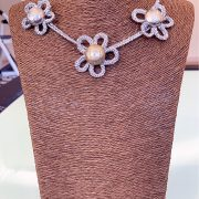 Recycled Craft Floral Necklace 'The Poise', Semi-Precious Bracelets, Earrings, Fascinator & Matching Purse