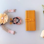 Recycled Craft Necklace 'The Aureate', Semi-Precious Bracelets, & Matching Leather Purse